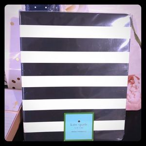 Black and white stripe spiral notebook Kate Spade